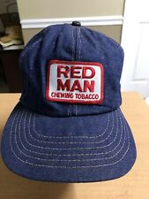 Vintage Red Man Chew Chewing Tobacco Cap Snapback Hat Patch Usa Made