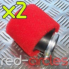 TWIN PACK ANGLED RED 45mm PIT BIKE FOAM AIR FILTER FOR MOLKT CARB 140cc 160cc