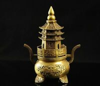 Chinese Brass Copper Buddhist Pagoda tower Censer incense burner