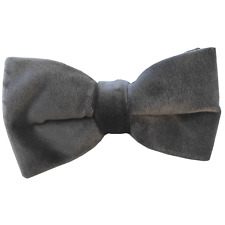 Handmade Silver Grey Velvet Bow tie Mens light grey bowtie