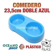 COMEDERO BEBEDERO DOBLE PERRO PLÁSTICO AZUL 23,5cm RESISTENTE D104 9999
