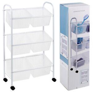 Bathroom Toilet Storage Trolley Shelves 3 Tier Drawers Rack Organizer Cart White