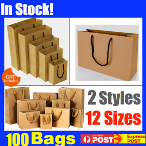 BULK 100 BROWN CRAFT PAPER GIFT CARRY BAGS SMALL MEDIUM LARGE WITH HANDLES