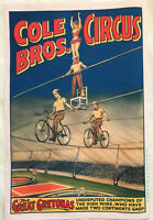 XL HiQ Facsmile of 1937 Cole Brothers Circus Poster~High Wire Aerialist
