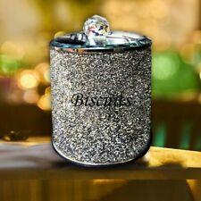 Biscuit Jar Silver Crushed Crystal Cookies Barrel Diamante Holder Storage