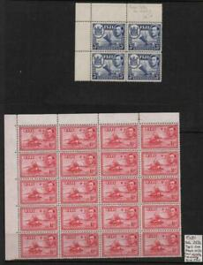 FIJI: George VI 1½d & 3d Blocks - Ex-Old Time Collection - Album Page (38790)