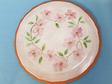 Majolica Pottery Large Plate Tray Desert  Pink Rose Glaze Painted 13""