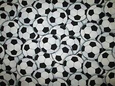 Soccer Ball Futbol Sports Olympics Overall Black White Cotton Fabric BTHY