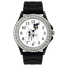 Brazilian Terrier Dog Crystal Rhinestone Mens Ladies Jelly Silicone Watch Sg171P