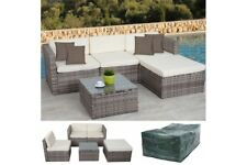 Polyrattan Loungegruppe Lounge Polyrattan Outdoor grau  Gartensofa mit Abdeckung