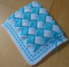 """UNIQUE Hand Knitted & Crocheted Baby Blanket -Turquoise Blue & White - 29"""" x 24"""""""