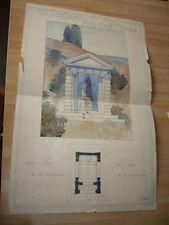 DESSIN D'ARCHITECTURE 1896 UN TOMBEAU POUR DEUX FRERES SIGNE J. DURAND