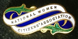 WOMEN'S SUFFRAGE NATIONAL WOMEN CITIZENS' ASSOCIATION PIN ENAMEL BADGE .