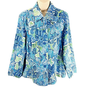Coldwater Creek Size 1X Printed Button Down Jacket Blue Cotton Blend Casual