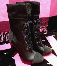 Victoria's Secret Supermodel Black Leather Sexy Lace-Up Boots Shoes (8 & 8.5)