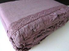 Tahari Full Queen Duvet Cover Ruffle Crochet Lace Purple Plum Linen Cotton