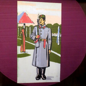 1970s Soviet Russian USSR Military SOLIDER GUARD w/ RIFLE Painting Poster RUSSIA