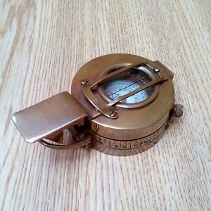 Antique Nautical Brass Military Prismatic Compass Vintage Collectible