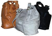 LADIES LARGE GENUINE  REAL SOFT LEATHER SHOULDER BAG BUCKET BAG - ALL COLOURS