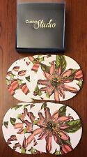 NIB Caskata Studio 12 Paperboard Coasters in Box Pink Passion Flowers 4