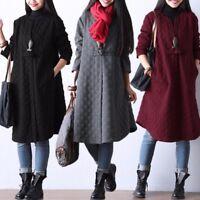 UK 8-24 Women Warm Long Sleeve V Neck Loose Plus Plain Coats Jackets Tops Dress