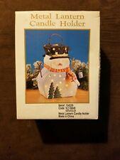 Metal Lantern Candle Holder Snowman NIB damaged box