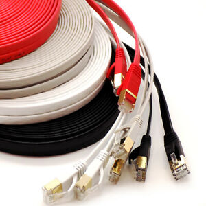 RJ45 Cat7 FLAT Ethernet Cable Gold Ultra-thin 10Gbps SSTP Network Patch Lead Lot