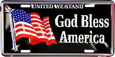 """United We Stand God Bless America USA US American Flag 6""""x12"""" License Plate"""