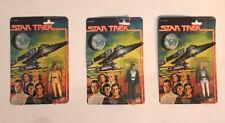 "Vintage 1979 Mego Star Trek 3.75"" Action Figure MOC Lot: Capt Kirk, Ilia, Decker"