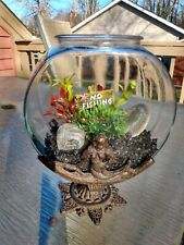 Antique Aquarium Fish Bowl Cast Iron Mermaid just add water and Betta!
