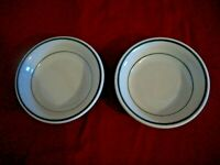 Vintage Berry Bowls  White w/ Green Trim~RESTAURANT WARE Lot of Two
