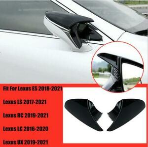 FOR Lexus UX ES LC LS RC RS Glossy black abs OX Horn Car Rearview Mirror Trim 2X