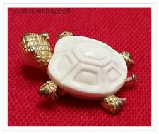 Vintage Crown Trifari Gold Tone White Lucite Mini Turtle Tortiose Brooch Pin