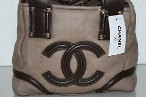 New CHANEL Small Tote Bag Suede Brown Handbag Bag SHEARLING FUR Quilted CC