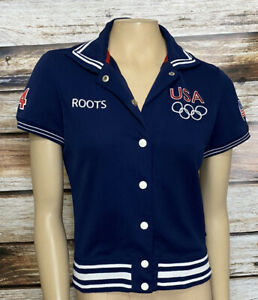 USA Olympic Team 2004 Warm-up Jacket Size XS Roots *Read 1 Needs Snap Repair
