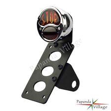 Motorcycle Metal Tail Brake Light STOP License Plate Bracket Side Mount Chrome