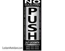 250 Pcs Custom Locksmith Stickers Push/Pull