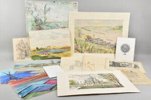 a77g25- Konvolut Zeichnungen, Aquarelle & Drucke, teils sign.