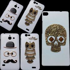 Hard Case Back Cover For Huawei, Retro Skull Rivet Owl Mustache Style Skin Shell