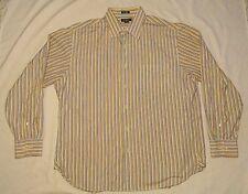 J CREW Mens DRESS Shirt STRIPED COLORFUL L LARGE 16-16.5 100's 2 Ply COTTON LS