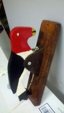 BRAND NEW HAND MADE WOODPECKER DOOR KNOCKER FOLK ART RED BLK WT YELLOW WOOD G-2