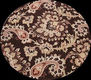 Floral Hand-tufted Oriental Area Rug Transitional Wool Home Decor 8'x8' Round