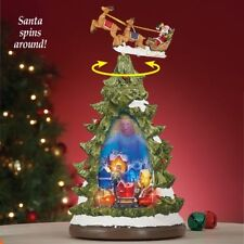 Lighted Colorful Christmas Village Tree Tabletop Figurine w/ Spinning Sleigh