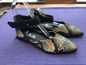 Mjus Ankle Strap Shoes Size 37 Uk 4 Leather Embossed Snake Multi Colour Rrp £155