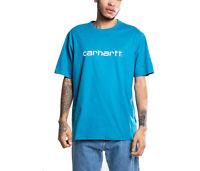 T-shirt uomo CARHARTT WIP S/S Script I023803 100%cotone jersey Col. Pizol/White