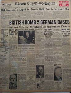 1940 Black History 205 Negroes Die in Natchez Fire British Bomb 5 German Bases