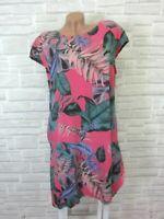 NEU ITALY Sommerkleid Hängerchen Tunika Kleid Print IBIZA 42 44 46 Pink K364