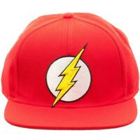 DC COMICS SOLID RED THE FLASH 3D LIGHTNING BOLT LOGO SNAPBACK HAT CAP FLAT BILL