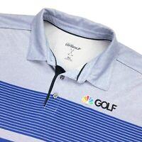 NBC Golf Channel Men's Sketchers Performance Polo Shirt Striped Blue • XL