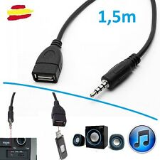 Cable audio de Jack a Usb hembra AUX salida auxiliar auriculares radio Coche Mp3